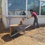Colleen Cooley shoveling dirt at SAM, Biosphere 2