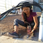 Colleen Cooley placing rebar, SAM at Biosphere 2