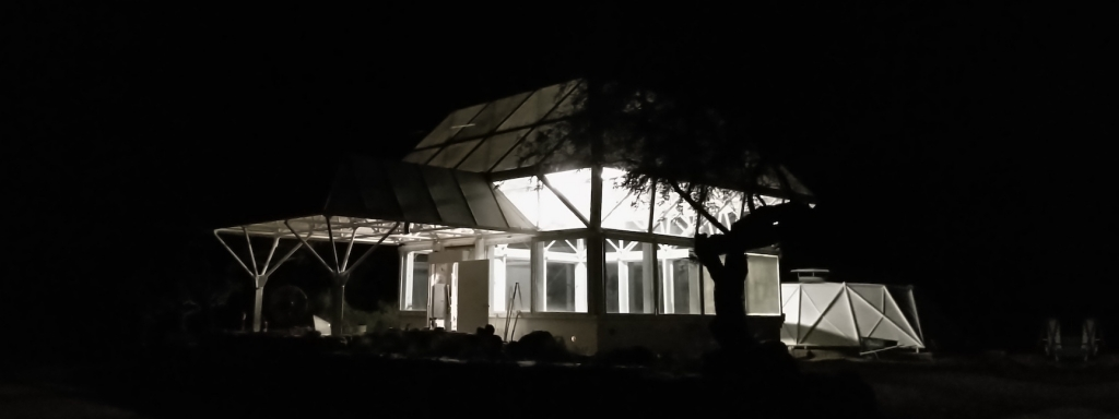 Test Module at night, SAM at Biosphere 2