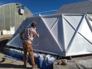Trent painting the lung shell at SAM, Biosphere 2