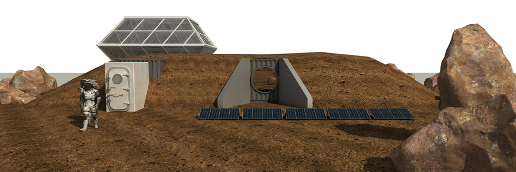 Rendering of the SAM airlock into the Mars Yard, SAM at Biosphere 2